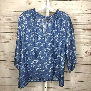 Lands End boho pheasant style linen blouse small